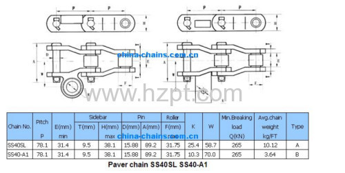 Paving Machine Accessories Paver Chain SS40SL/SS40-A1/S188 For Construction Industry