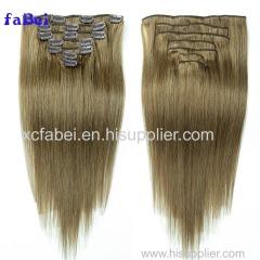 Natural Black Straight Human Hair Brazilian Clip In Hair Extensions 7Pcs Clip In Human Hair Extensions