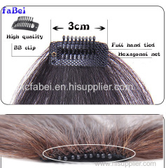 Stock blonde 100% human hair clip in bangs/remy clip in hair extension bangs/human hair fringes