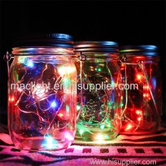 Solar Mason Jar Lights Waterproof Glass Jar Fairy lights with Lid Insert for Garden