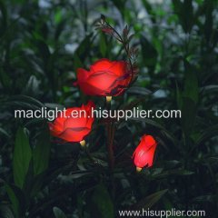 Red Rose Shape Garden Decoratiom Solar LED Pathway Lamp