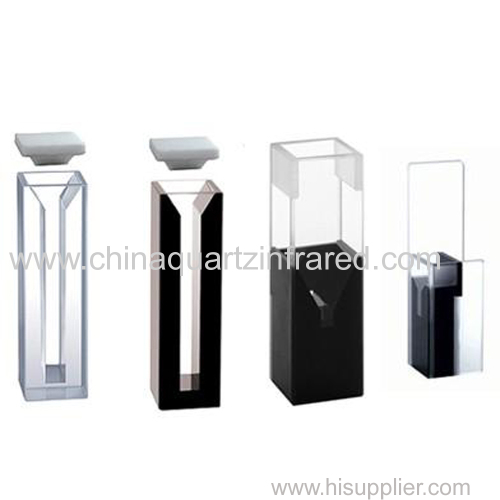 45*45*12.5mmoptical quartz flow spectrophotometer cuvette with stainless tube