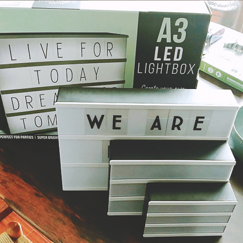 Customizable Light Box With Black Letters Numbers