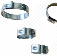 Adjustable single ear hose clamp