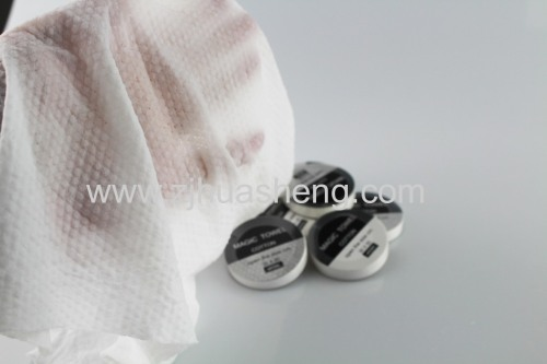 100% viscose spulance nonwoven tablet compressed towel for cleaning