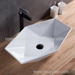 2018 ceramic new design thin edge diamond tabletop mounted high quality white bathroom sanitary ware basin sinks