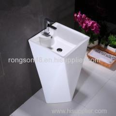 Sanitary ware bathroom diamond shape ceramic big size floor standing single hole pedestal basin for hot sale