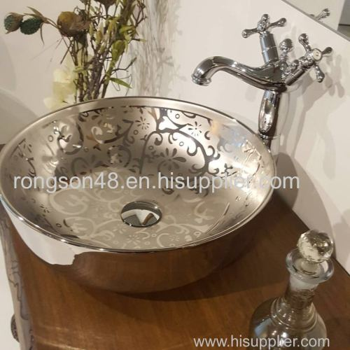2018 New design good sale ceramic bathroom round slivery table basin for cabinet design with direct factory price
