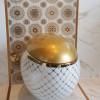 Luxury golden ceramic egg shape wall hung toilet bowl