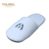 White embroidery logo hotel slippers with closed toe style