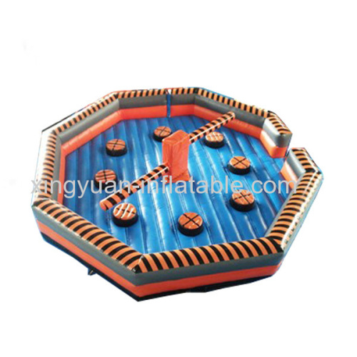 Outdoor sport game inflatable wipeout sweeper course