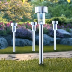 Outside Stainless Steel Solar Garden Stake Pathway Lights