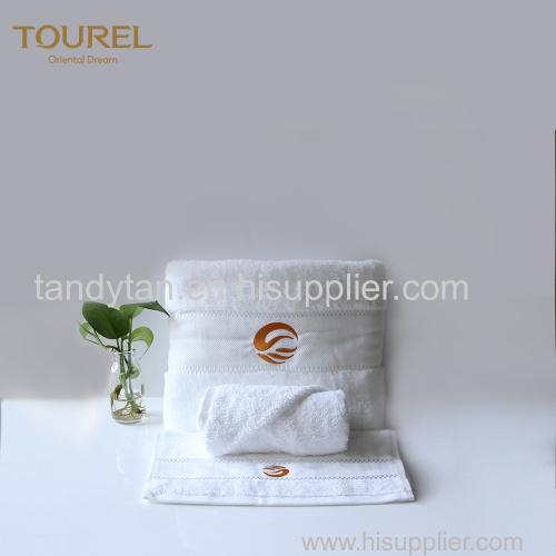 100% Cotton Luxury Hotel Towel Set With Customized Embroidery Jacquard Logo