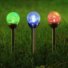 Color-Changing LED Solar Glass Crackle Lighting For Yard PatioD