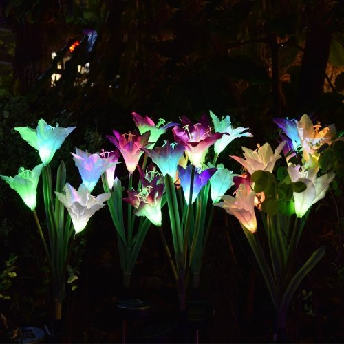 Solar Lily Flower Outdoor Garden Stake Lights