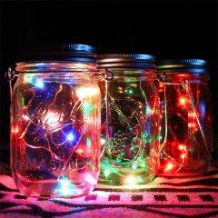 Solar Mason Jar Lights Waterproof Glass Jar Fairy lights with Lid Insert for Garden