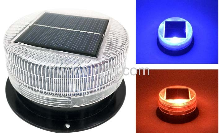 Red and blue shockproof magnetic solar led warning lights for cars