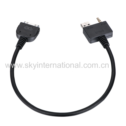 AUX Input Cable Interface For Hyundai Kia For iPhone 4 4S iPod Nano iTouch