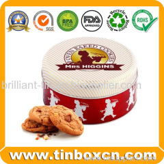 Round Mrs Higgins Biscuit Cookies Tin Box