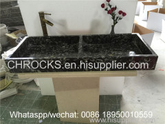 Black Shell Marble Bathroom doule holes sinks rectangular wash basin