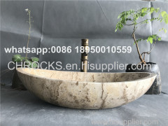 Beige Travertine Bathroom Oval Vessel Sink Natural Stone Wash Basin