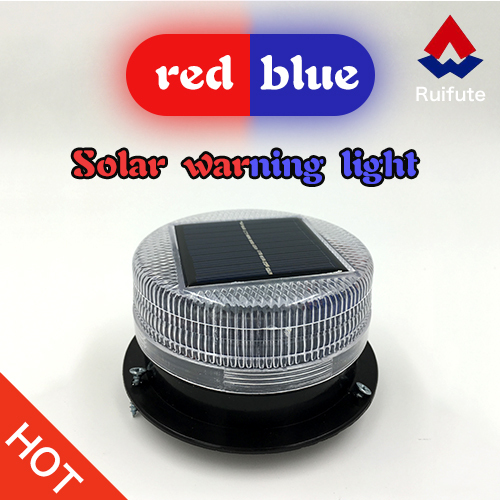 Red and blue solar cautions lights for trucks