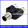 M12 underwater one male to two female straight t code y splitter cable connector