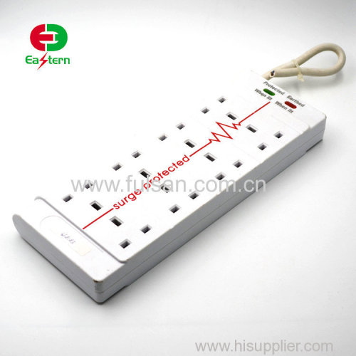 2M Extension Lead Socket Power Strip With Surge Protector 8 Way Outlets