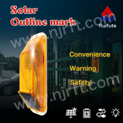 Red and yellow safety strobe solar outline traffic guardrail lights protect