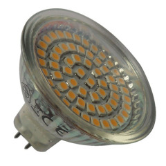 60LEDs 3528SMD 3-3.5W 260-300lm LED MR16 bulb glass body 12V Ra>80
