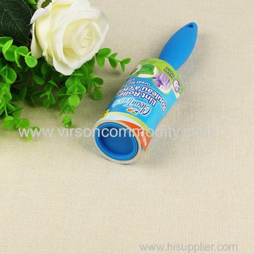 Short handle sticky lint roller