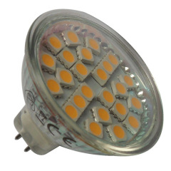 24LEDs 5050SMD 3-3.5W 250-280lm LED MR16 bulb glass body 12V Ra>80