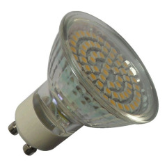 60LEDs 3528SMD 3-3.5W 260-300lm LED GU10 bulb glass body Ra>80