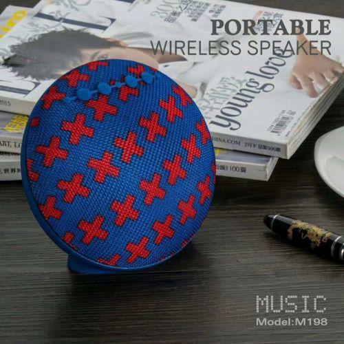 Round design farbic mertail portable wireless bluetooth speaker