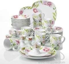 40 Piece Ceramic Dinnerware Set Ivory White Flower Pattern Plate Sets Kitchen Bowl set
