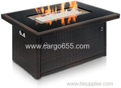 Outdoor Propane Gas Fire Pit Table Black Tempered Glass Tabletop w/Arctic Ice Glass Rocks and Resin Wicker Panels