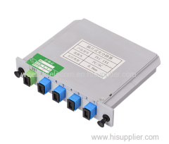 4way FTTH LGX box insertion card type fiber optic PLC splitter with SC/UPC