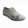 Women comfortable shoes with printing on leather upper