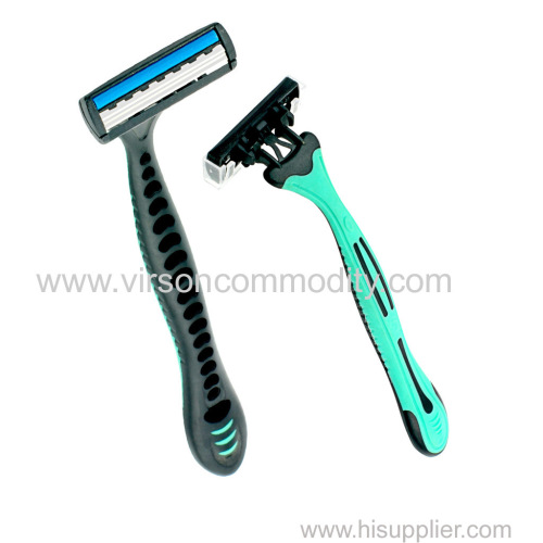 plastic handle 3 blades disposible razors