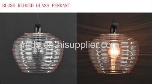 Smoke/Blush/Clear Ridged Glass Pendant