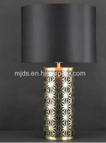 Antique Brass Table Lamp With Black Emulation Silk Shade