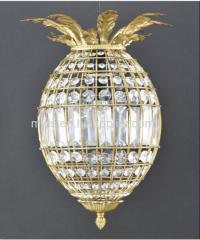 Antique Brass Pineapple Crystal Chandelier