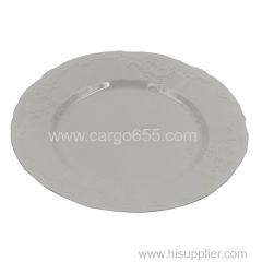 High quality white disposable plastic side plate Decorative Round Plastic Charger Dinner Plate Elegant decoration