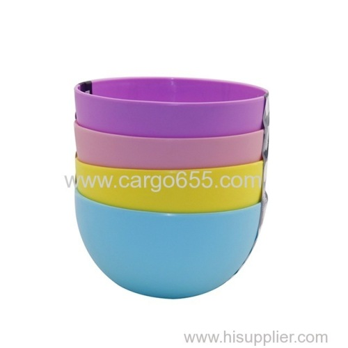 Eco-friendly 4pc/set high quality household fruit bowl plastic reusable mixing unique stackable round salad bowl