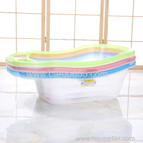 Simple European Style Transparent Baby Shower Deep Plastic Kids Bath Wash Tub