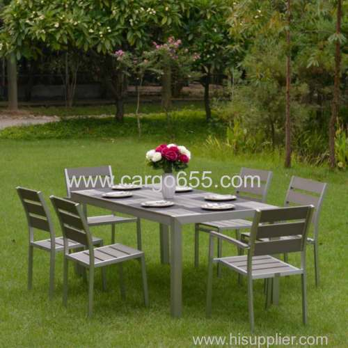Outdoor Furniture Dinner Set 6 Chairs Plastic Wood Dining Table Set Garden wooden Sling dining set