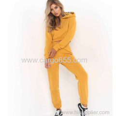 Plain High Quality custom Crop Hoodies and jogger Sweatpants sets women sportswear Sexy Tracksuits sportswear online