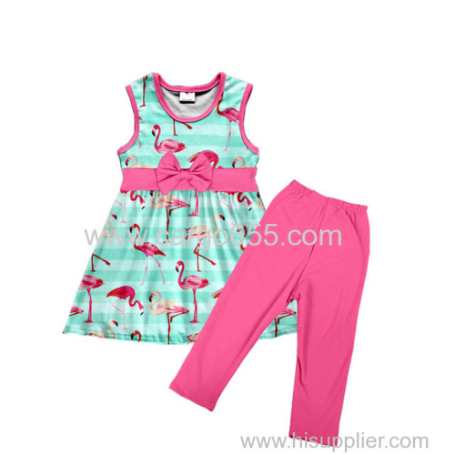 high-low dress patterns Flamingo prints Beautiful girl dress children garment