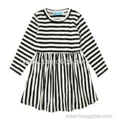 весенние дети готовые одежды девушки девочки длинный рукав платья полоса baby хлопок платья
