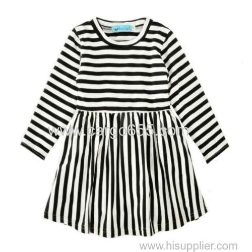 Spring Kids Ready Made Garment Little Girls Long Sleeve Dresses Strip Baby Cotton Frocks